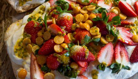 Strawberry, Gooseberry and Granadilla Pavlova