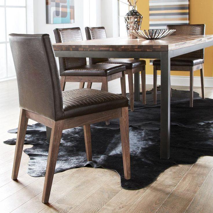 Sunpan 7 Piece Porto Modern Dining Table Set - Distressed Brown - SUNP259