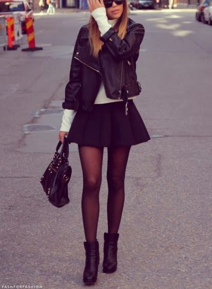 Skater skirt that can be worn for winter with black nylons.