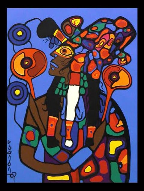 Self Portrait of Artist - Astral Projection Norval Morrisseau