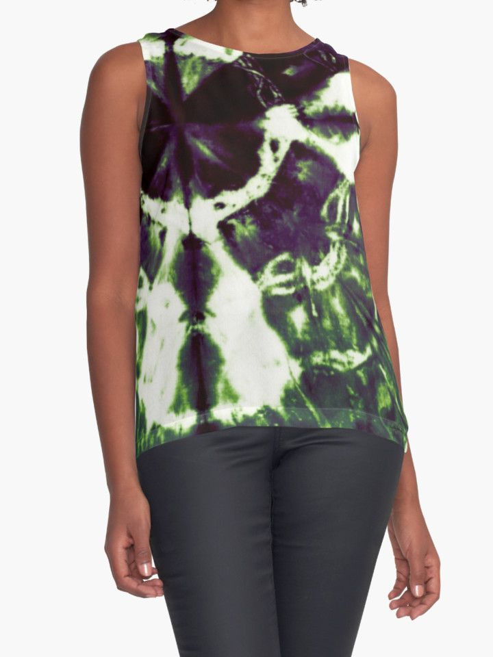 Eggplant Bloom Contrast Tanks by PolkaDotStudio, new #tie #dye #Boho #Bohemian #ethnic #purple and #green #art on #fashion #apparel #tops for #her for #summer or under a jacket. #Contemporary #style, comfortable, and perfect for #travel, #classy appointments or  a classy yet fun one of a kind piece for your wardrobe.