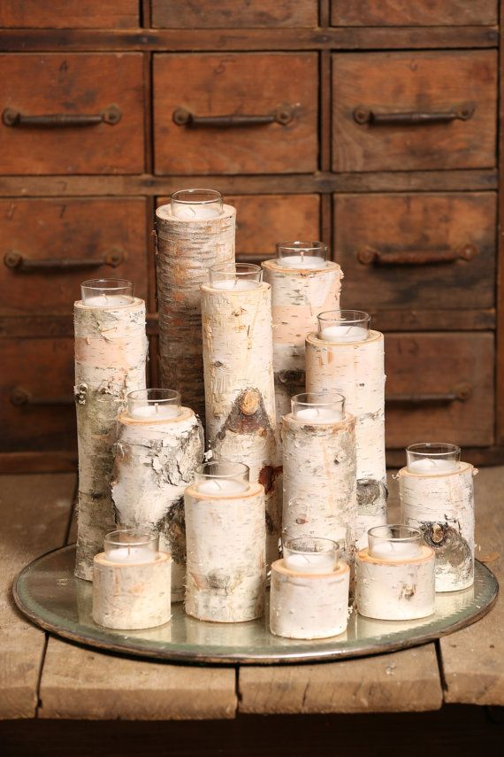 Birch Votive Candle Holders Set Of 12 by TheReclaimery on Etsy