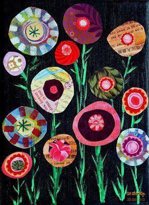 """Happinez Flowers"" collage handmade by De Sierkip"