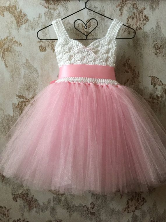 Pink and white empire flower girl tutu dress crochet by Qt2t