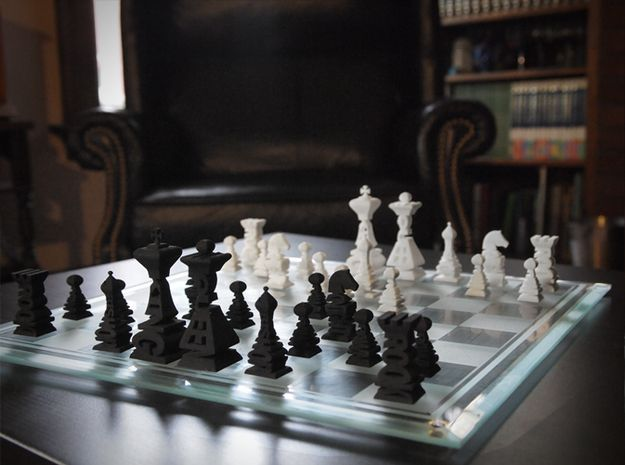 Typographical Chess Set 3d printed Black and White Sets together