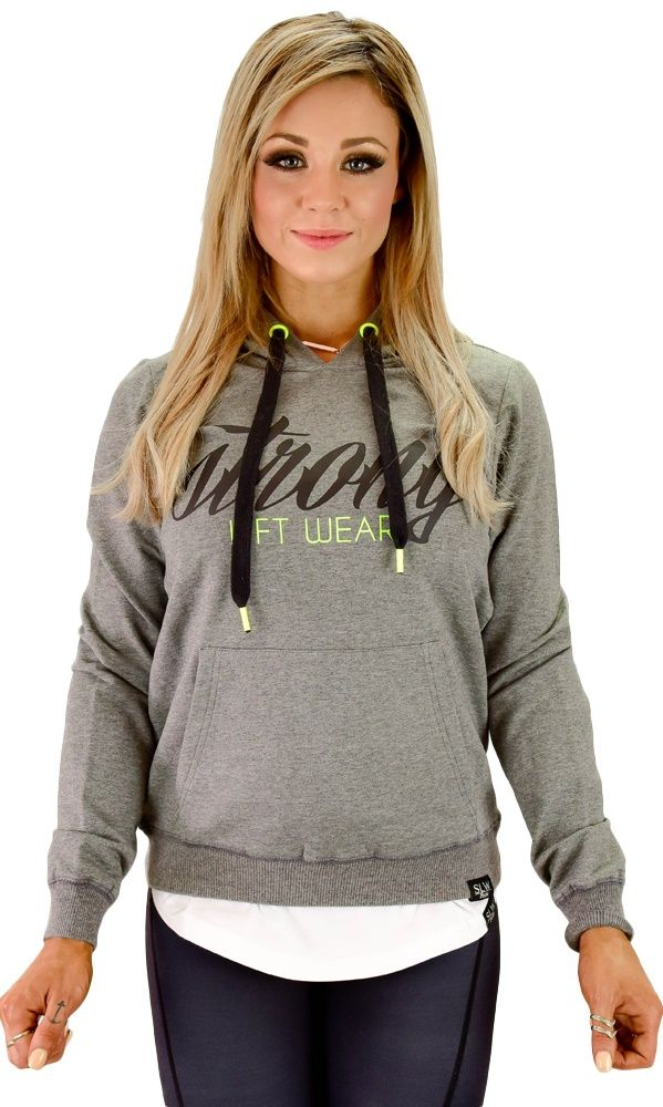 Womens Strong Hoodie- Dark Grey / Hyper  The Strong Hoodie was made for women who lift, combining luxe material with an edgy design!     Material: Odile  Cut: Long sleeve & hooded jumper  Use: Training and casual wear  Benefits:  Sweat-wicking, quick-dry material that feels amazing! Kangaroo pocket to keep your hands warm and store your mp3 Can be worn to the gym for warm-up or casually..
