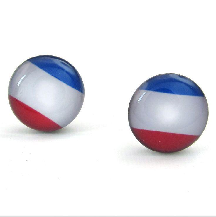 Flag of France stainless steel earrings
