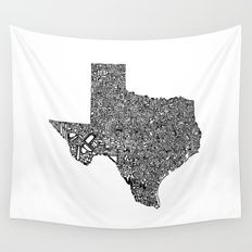 Typographic Texas Wall Tapestry