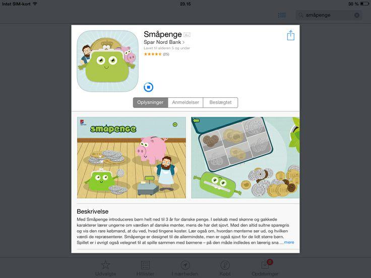 Småpenge er en gratis app fra Spar Nord, hvor de mindste børn lærer om de forskellige mønter. De skal fx sortere dem, finde et beløb, fodre en sparegris og handle ved købmanden.