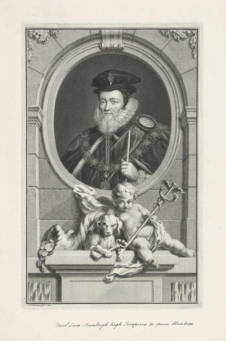 Jacob Houbraken   Portret van William Cecil, lord Burghley, Jacob Houbraken, 1736 - 1738   Portret van William Cecil, lord Burghley, adviseur van Elisabeth I koningin van Engeland. Onder het portret een sokkel waarop een putto met de caduceus; de door twee slangen omkronkelde en gevleugelde staf van Mercurius, een hond met een sleutel tussen zijn voorpoten en een hoorn des overvloeds waar munten uit vallen.