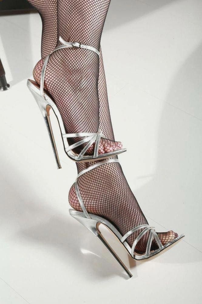 Fabiano ricco sexy silver glitter sky high stiletto heels, women's fashion, shoes, heels on carousell