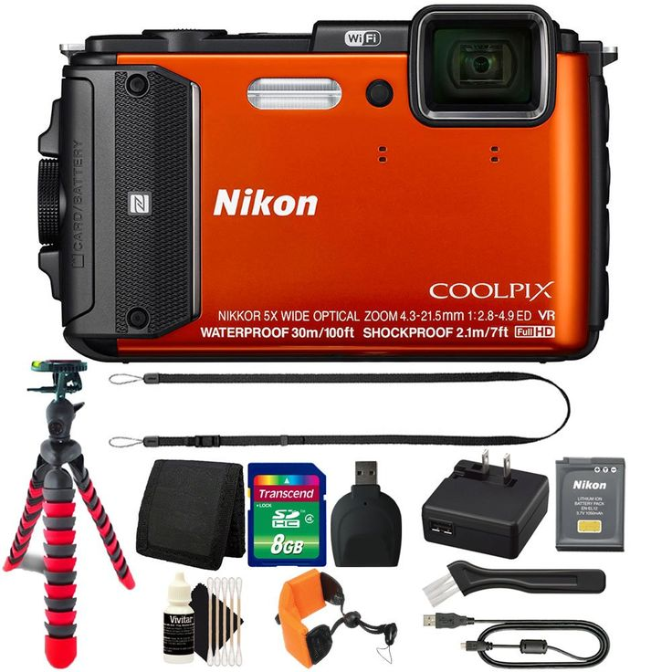 Nikon COOLPIX AW130 1080p HD Waterproof Digital Camera with 8GB Deluxe Accessory Kit. Depth Rating: 100', Shock-Proof: 7' Freeze-Proof: 14°F. Built-In Wi-Fi, NFC, GPS. Hybrid Vibration Reduction. Remote Control via Smartphone or Tablet. Electronic Compass, Points of Interest.