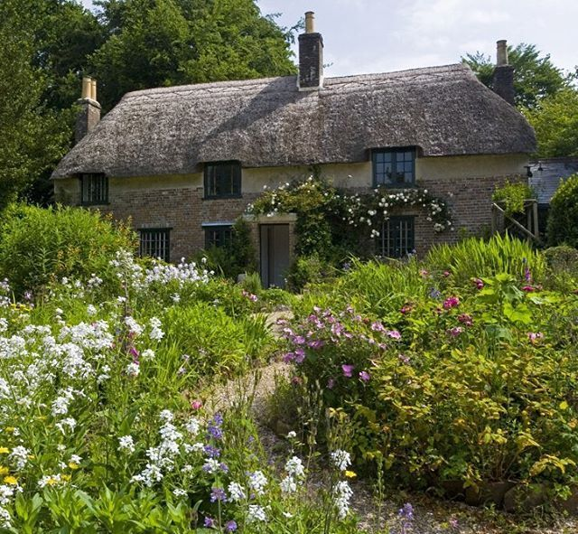 Dorset. On this day in 1840, novelist Thomas Hardy was born in this picturesque #Dorset cottage. Built of cob and thatch by Hardy's grandfather, little has been altered since the family left. It was here that Hardy wrote his early short stories, poetry and novels including 'Far from the Madding Crowd.' #nationaltrust
