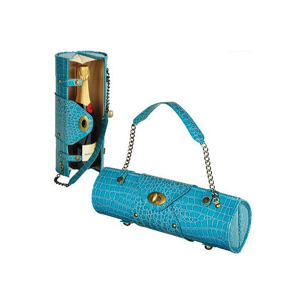 Women's Picnic at Ascot Wine Carrier/Purse - Turquoise Purses ($54) ❤ liked on Polyvore featuring bags, handbags, turquoise, party bags, special occasion handbags, wine handbag, white hand bags and white evening bag
