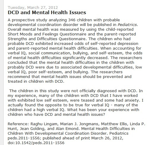 DCD and Mental Health Issues - -  Pinned by @PediaStaff – Please Visit http://ht.ly/63sNt for all our pediatric therapy pins