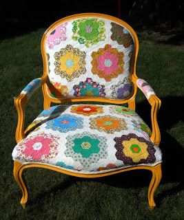 Hexie Quilt used to Reupholster a Chair.