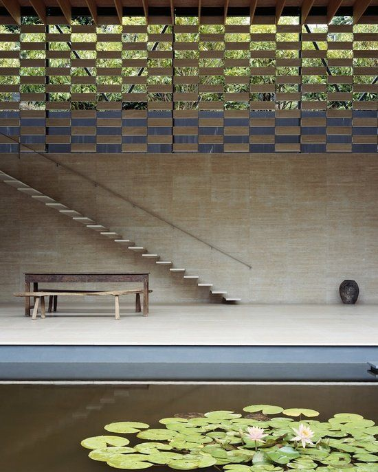 """Lotus House (2005)   Villa, Eastern Japan • Kengo Kuma + Associates. """"In traditional Japanese architecture building elements are very small: wood, rice paper, and sometimes stone. Usually there is space in between those elements to allow for natural breezes. I apply these methods in my own architecture in designing modern buildings."""" ― Kengo Kuma"""