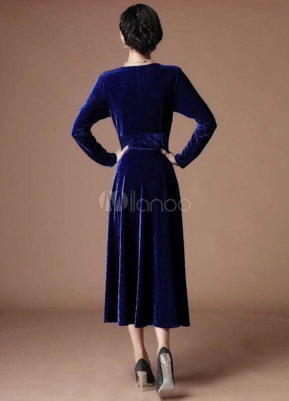 24baaf250fb A-line Royal Blue Velvet V-Neck Tea-Length Fashion Cocktail Dress Wedding