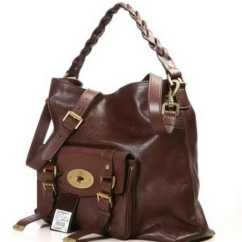 Luxury Mulberry Hobo Statchel Bag Natural Leather Chocolate sale