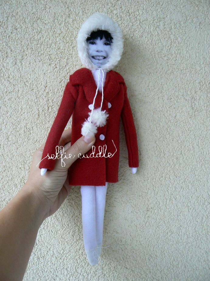 personalised handmade fabric doll, with printed face, girl in red coat