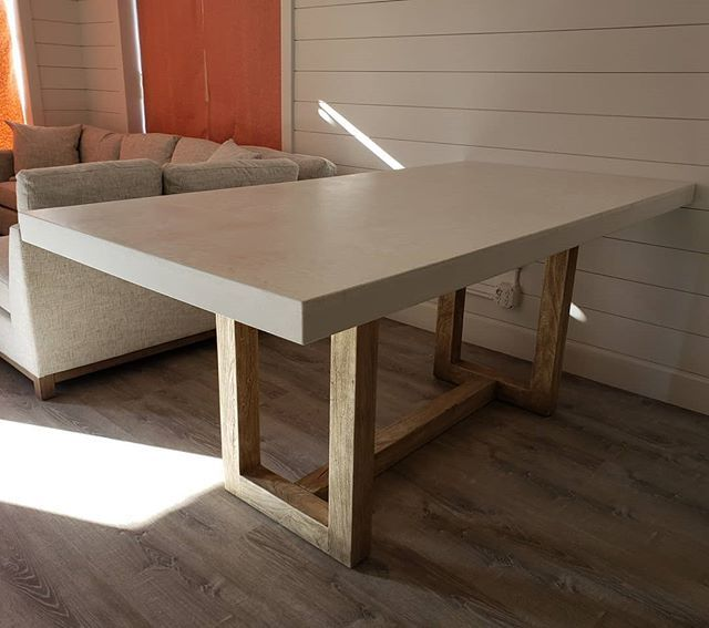 Retro Fit This White Concrete Dining Table Top With A Trowel Finish The Customer Desired A La Concrete Dinning Table Kitchen Table Wood Concrete Dining Table