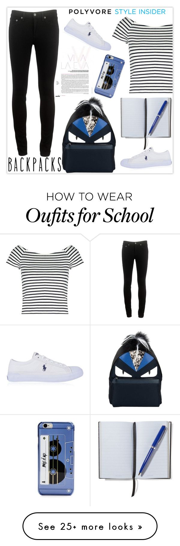 """""""Rule School: Cool Backpacks"""" by snje2105 on Polyvore featuring Lipsy, rag & bone, Polo Ralph Lauren, Kate Spade, Fendi, Smythson, backpacks, contestentry and PVStyleInsiderContest"""