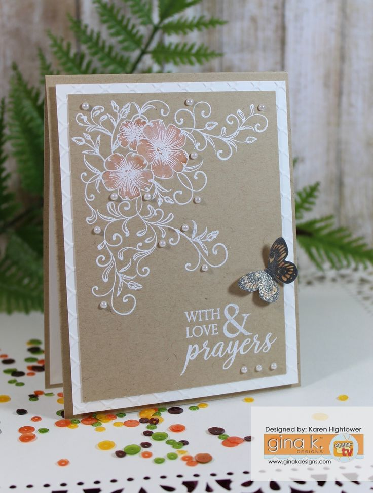 """Made with the New Stamp Set Sending Love - from the New Stamp Tv Kit """"Sending Love""""  Made for Gina K. Designs  By: Karen Hightower The kit is available @http://www.shop.ginakdesigns.com"""