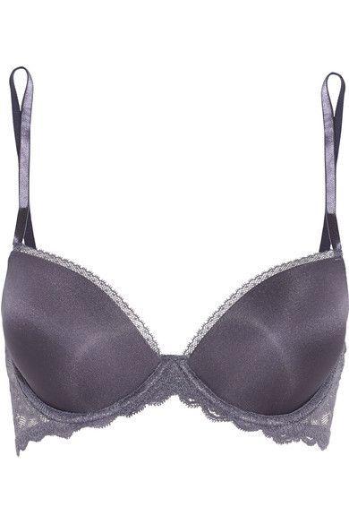 Calvin Klein Underwear - Seductive Comfort Lace-trimmed Satin Contour Bra - Anthracite - 36DD