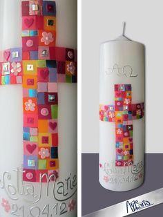 """Künstler-Taufkerze / Mosaik """"Alle deine Farben"""""""
