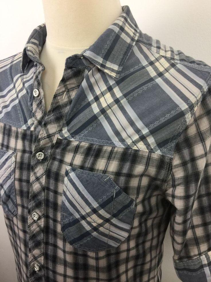#Mens #ALL #SAINTS #Shirt Size Small #SLIM FIT Blue White #Check #Short #Sleeve