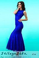 Длинное платье в стиле годе Летняя Русалка индиго 4764