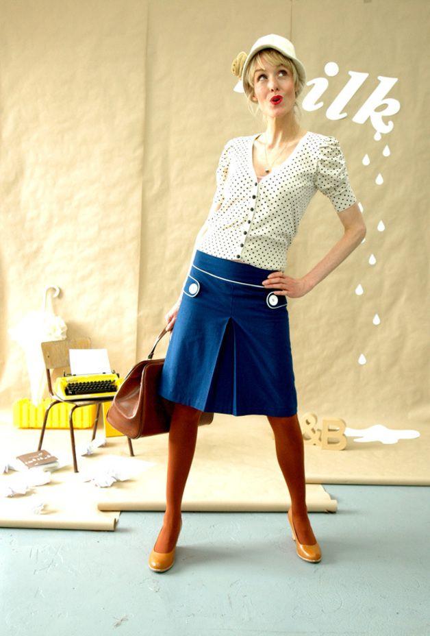 Hoodies - Retro Rock Marine Damen Skirt A linie - ein Designerstück von Bonnie-and-Buttermilk bei DaWanda