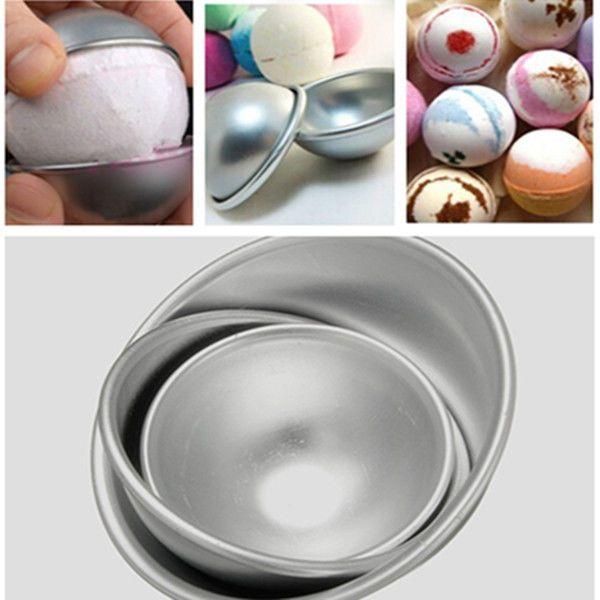 2Pcs Sell 3D Aluminum Ball Sphere Bath Bomb Cake Pan Tin Baking Pastry Mould NEW #UnbrandedGeneric