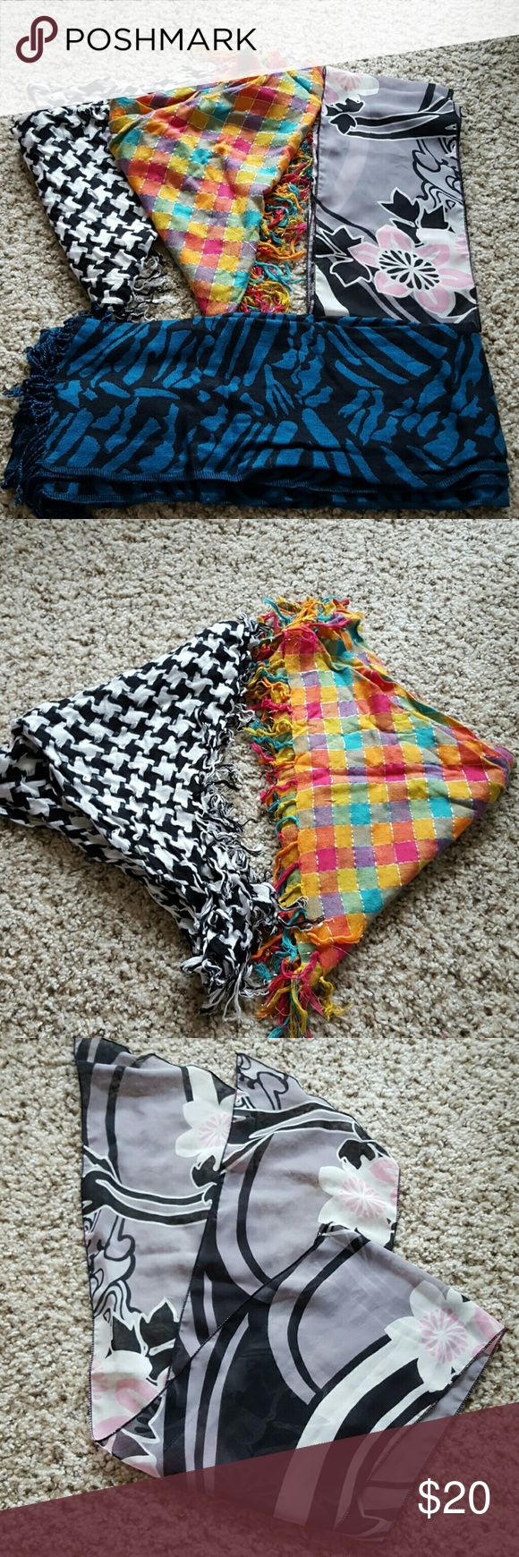 4 Scarves 1 black & white houdstooth triangle scarf with tassles, 1 multicolored triangle scarf with tassles and silver threading, 1 floral neck scarf with pink, gray and black, 1 teal and black zebra print long scarf with tassles Accessories Scarves & Wraps