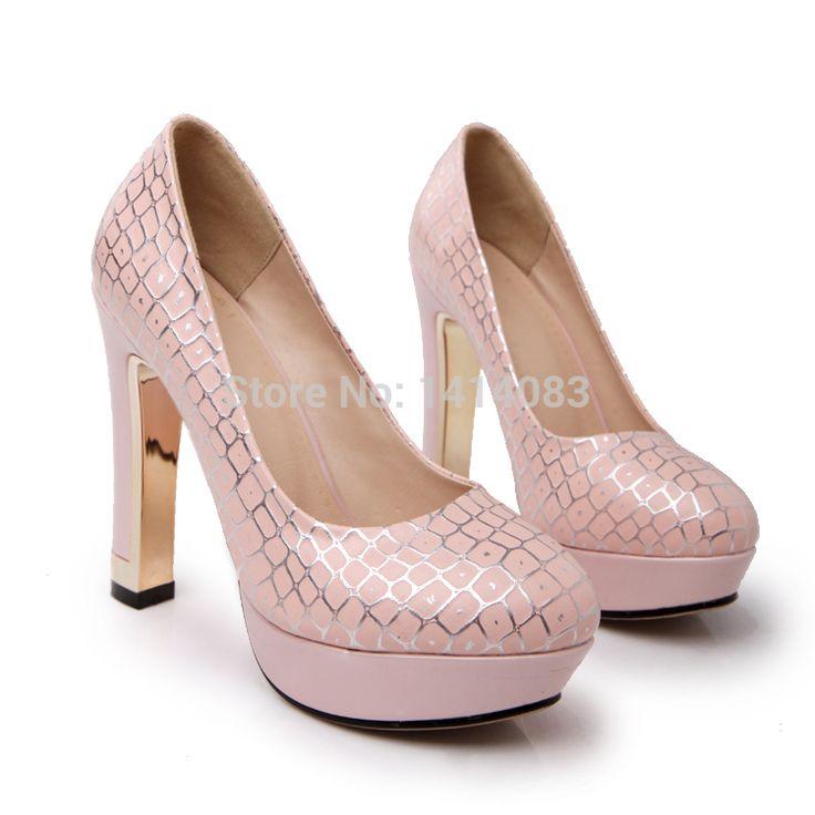 Европейский стиль ночной клуб круглый туфли на высоком каблуке сексуальный змеевик водонепроницаемый белый розовый синий высокая высокие каблуки женщины обувь размер 4,5 ~ 7US