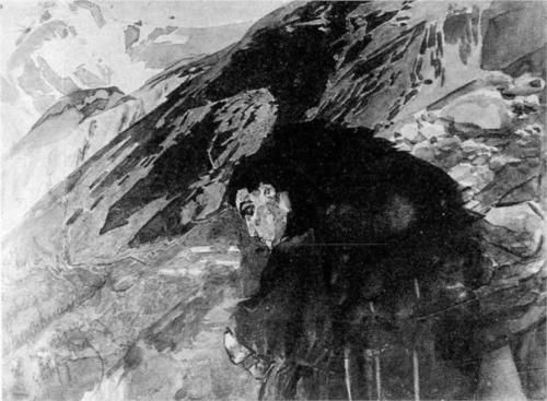 Demon looking to the valley - Mikhail Vrubel 1891
