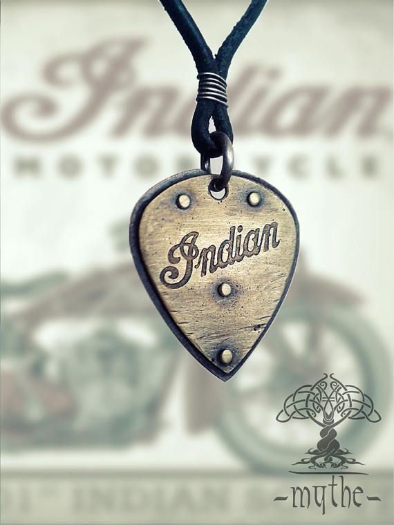 30% OFF - Coupon Codes !!! Indian Motorcycle Guitar Pick Necklace, Motorcycle Jewelry, Brass Copper, Vintage, Gift for motorcyclist, for him