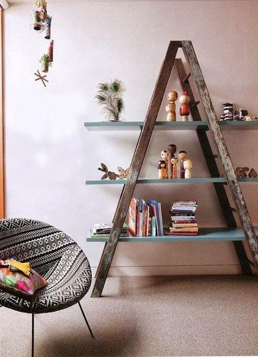 Mueble realizado con una vieja escalera de madera