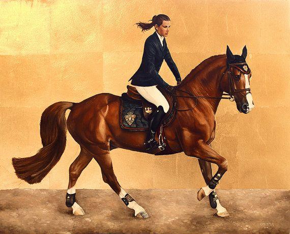 Ritratto ad olio su ordinazione del cavallo e cavaliere alta qualità a mano dipinto pittura realistica dalle tue fotografie. Parete Art regalo per amante del cavallo.