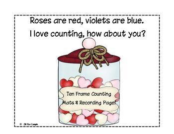 Valentine Ten Frame Counting Mats! Freebie!