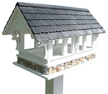 Covered Bridge Birdfeeder, White With Black Roof - contemporary - bird feeders - Home Bazaar
