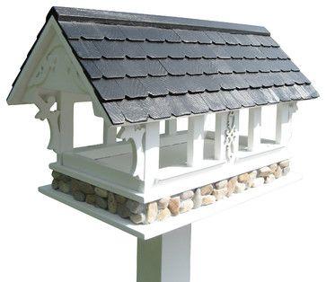 Covered Bridge Birdfeeder, White With Black Roof - contemporary - bird feeders - Home Bazaar