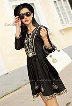 Bordado Étnico de la vendimia de BOHO Lentejuelas Mujeres Vestido Negro Mini Vestido de La Blusa vestidos de Las Mujeres vestido de ropa de mujer(China (Mainland))