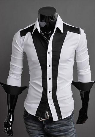 Camisa Casual Slim Fit Estilo Luxury en Dos Colores - Blanca/Negra y Negra/Blanca