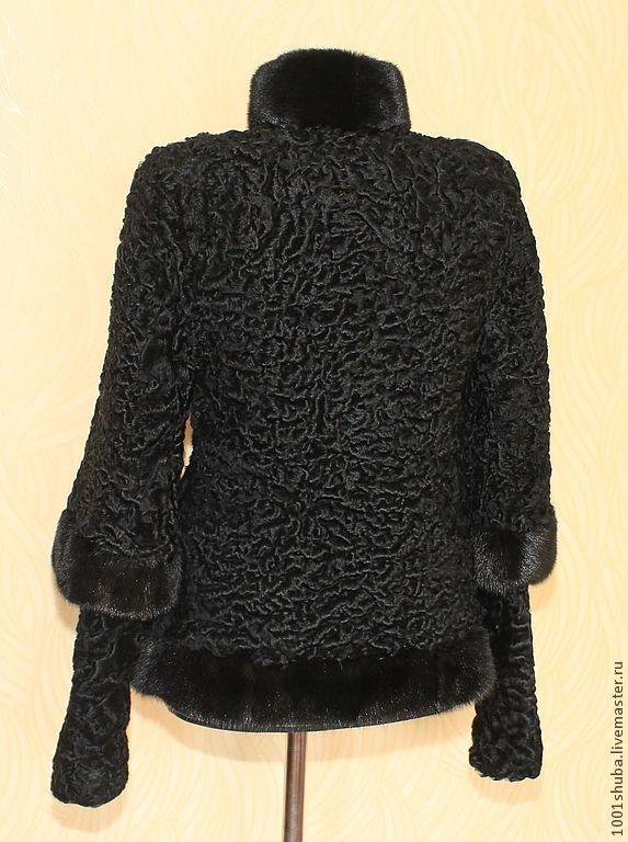 Купить Шуба из каракуля с норкой - черный, каракуль, шуба из каракуля, пальто из каракуля, Норка
