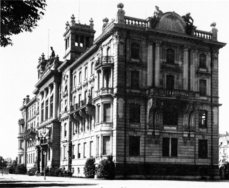 Zurich Insurance company buliding at Mythen-Quai in Zurich around 1905. G's office!