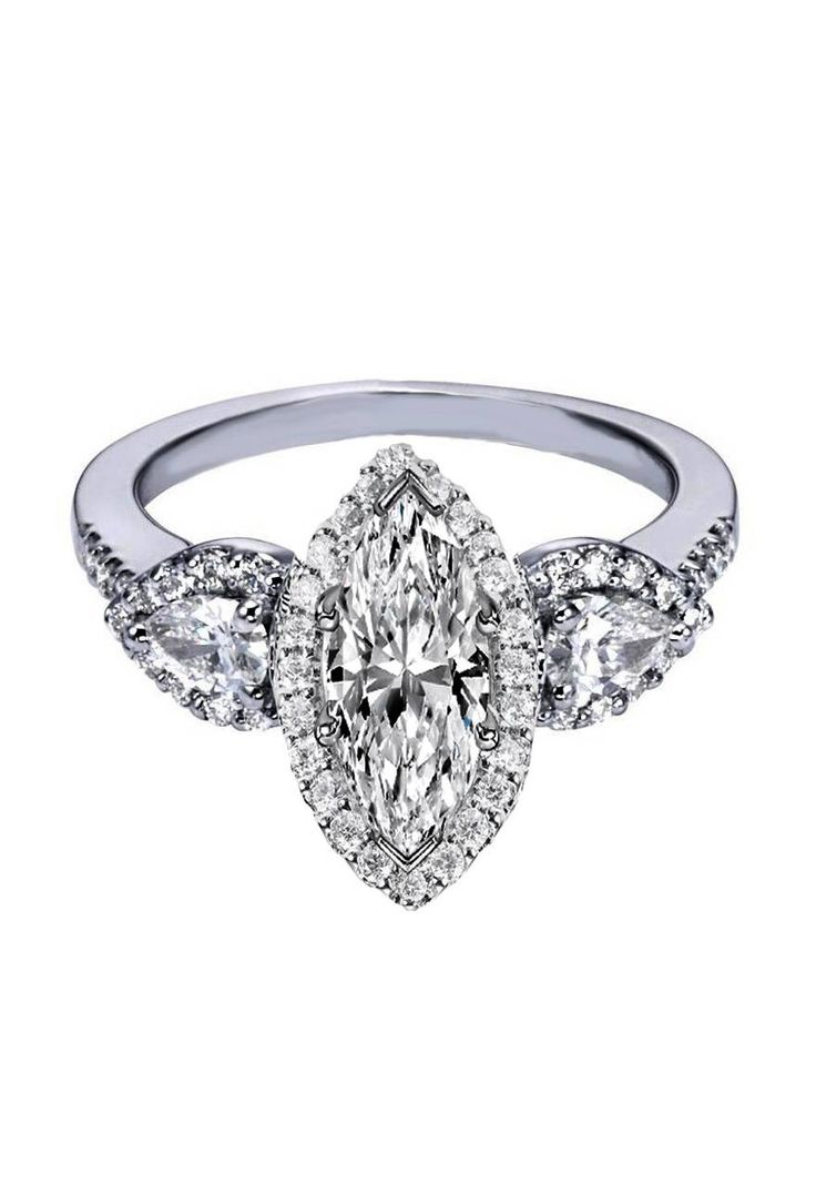 Marquise Diamond Halo Engagement Ring Pear Shape Side Stones Rings