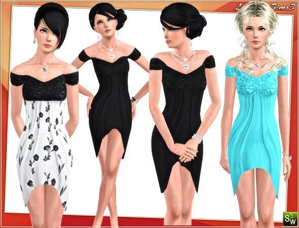 Sims 3 black dress elegant