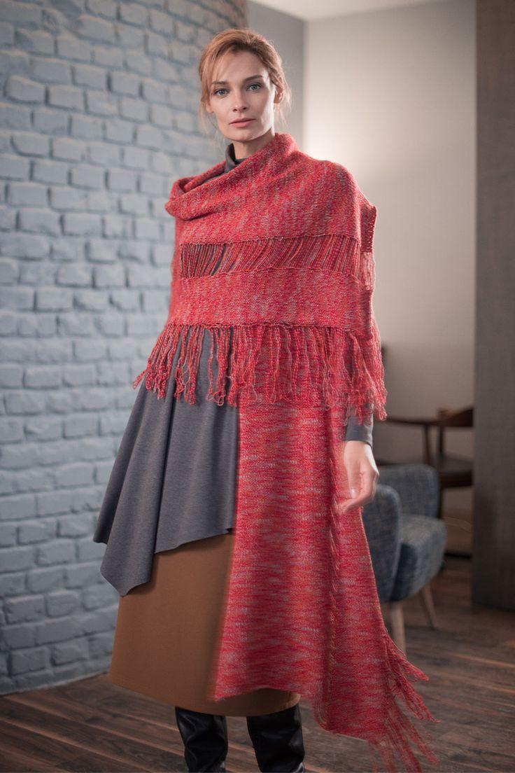 Купить Шарф с бахромой Рогожка от Lesel (Лесель) российский дизайнер одежды