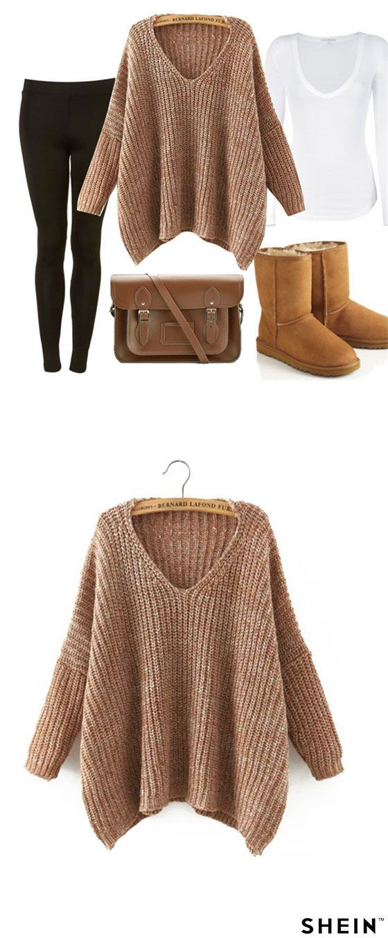 Brown V Neck Batwing Sleeve Loose Sweater